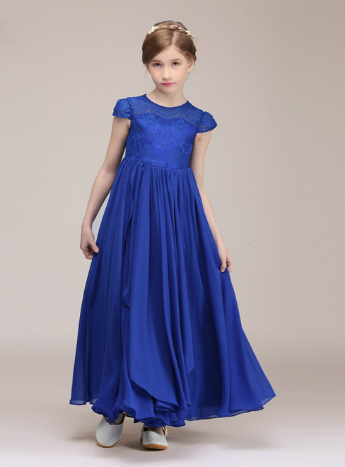 A-Line Blue Chiffon Lace Cap Sleeve Long Flower Girl Dress