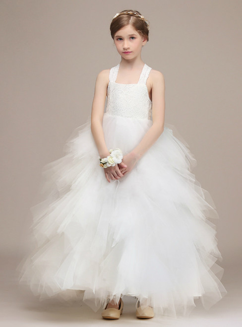 White Ball Gown Halter Tulle Lace Ankle Length With Bow Flower Girl Dress