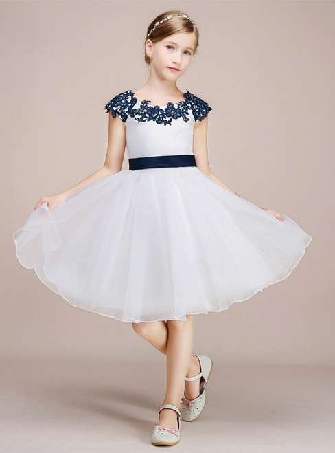 A-line White Tulle Blue Appliques Cap Sleeve Flower Girl Dress