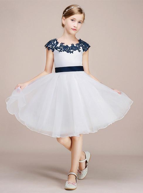A-line White Tulle Blue Appliques Cap Sleeve Flower Girl Dress