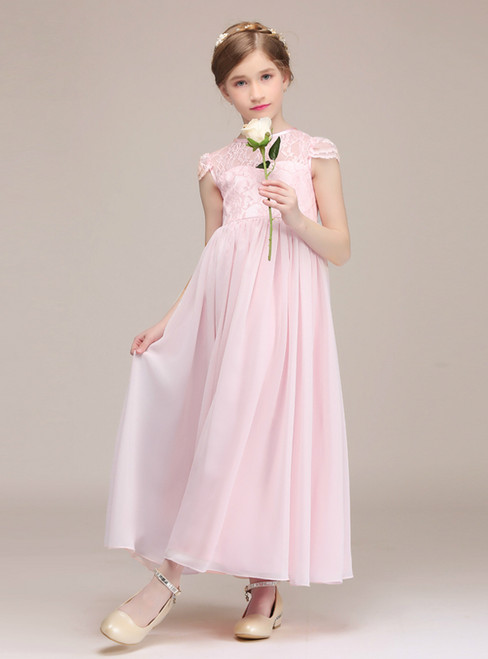 Pink Chiffon Lace Cap Sleeve Ankle Length Flower Girl Dress