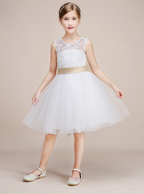 White Tulle Lace Backless Short Knee Length With Bow Girl Dress