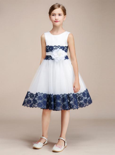 White Tulle Blue Lace Short Knee Length Flower Girl Dress