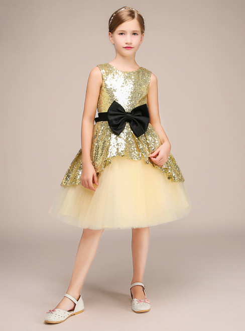 Gold Sequins Tulle Short Sleeveless Flower Girl Dress With Bow
