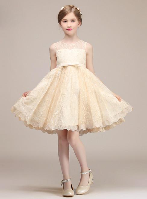 A-Line Champagne Lace Short Knee Length Flower Girl Dress