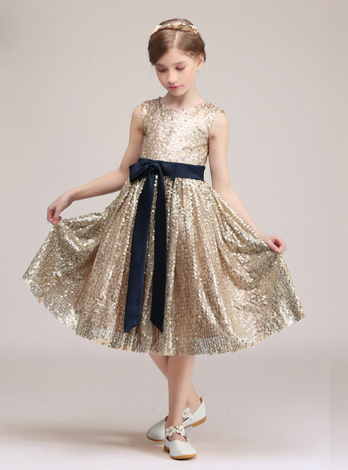 A-Line Gold Sequins Sleeveless Knee Length Glower Girl Dress With Bow