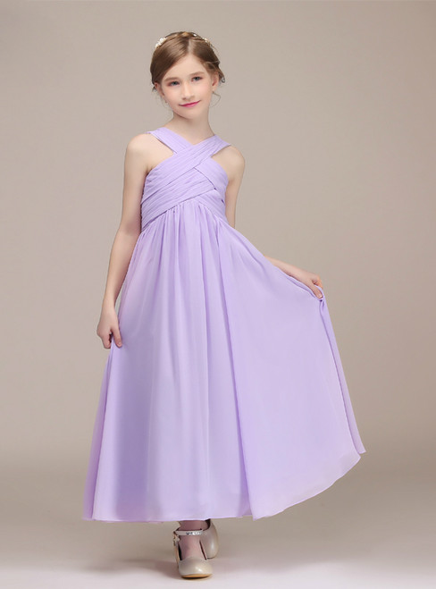 A-Line Purple Chiffon Halter Pleats Ankle Length Flower Girl Dress