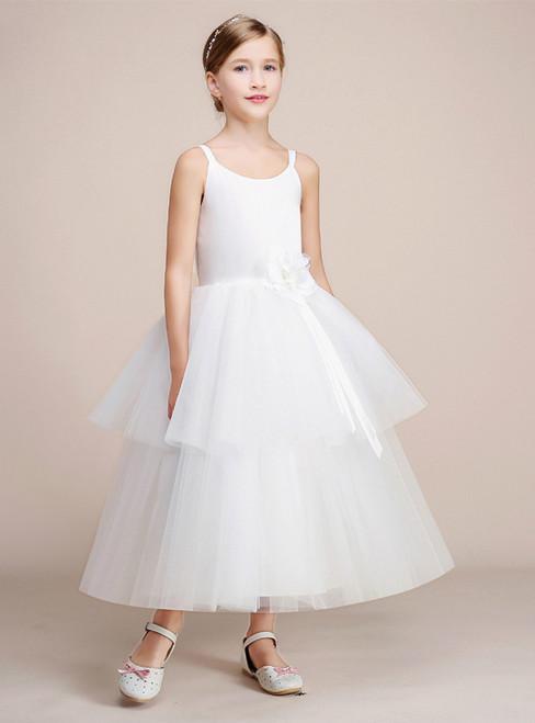 White Ball Gown Spaghetti Straps Tulle Tea Length Flower Girl Dress