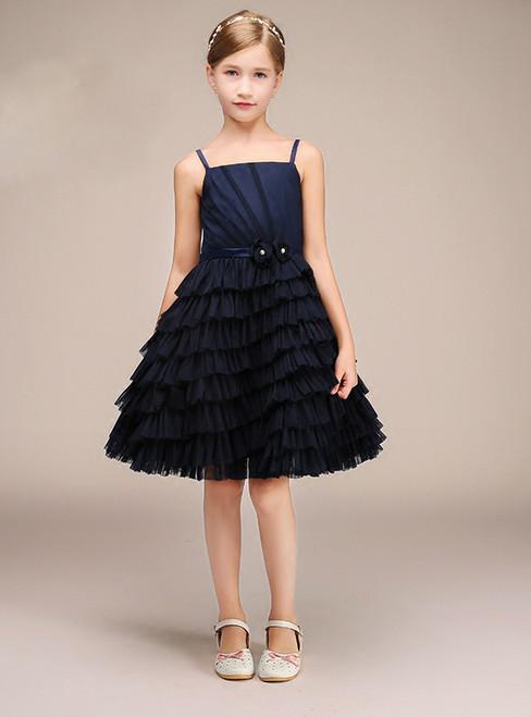 Navy Blue Spaghetti Straps Tulle Ruffle Short Flower Girl Dress
