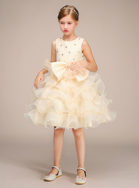 A-Line Champagne Organza Knee Length Flower Girl Dress With Bow