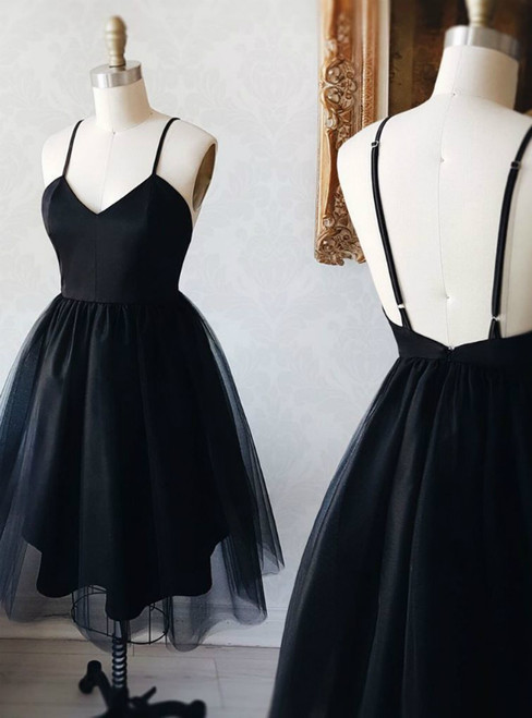 Black Spaghetti Straps Tulle Backless Little Black Homecoming Dress