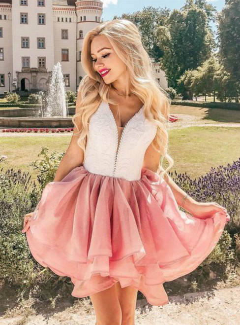 Pink V-neck Organza Lace Backless Short Homecoming Dress