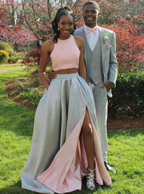 Pink Gray Satin Two Piece Halter Prom Dress With Pocket