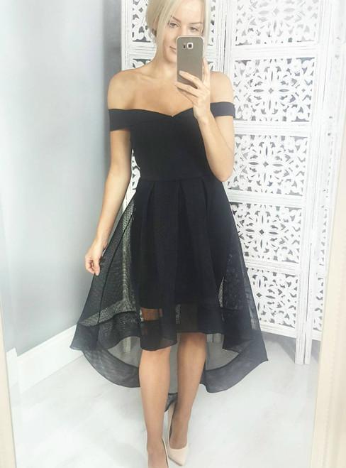 Black Off The Shoulder Hi Lo Short Homecoming Dress