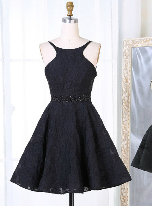 A-Line Bateau Backless Black Lace Homecoming Dress With Beading