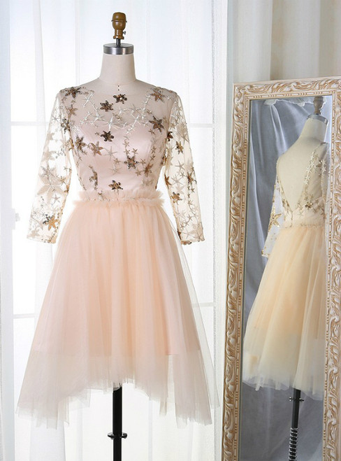 A-Line 3/4 Sleeves Light Champagne Tulle Sequins Homecoming Dress