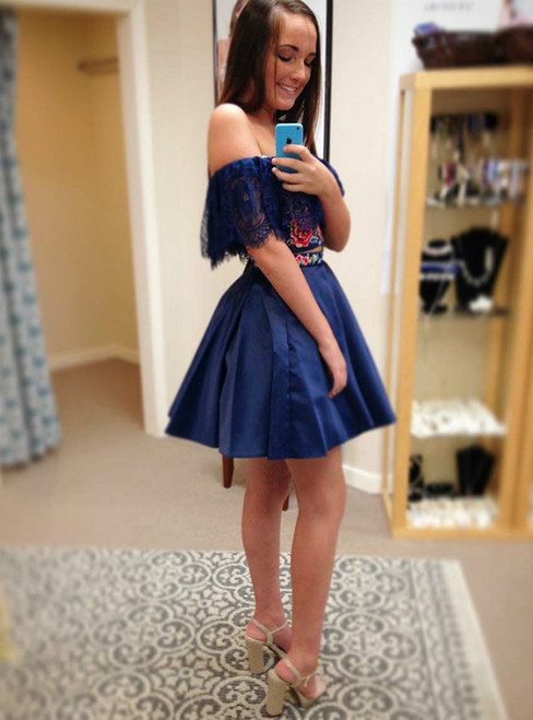A-Line Two Piece Off the Shoulder Blue Appliques Homecoming Dress