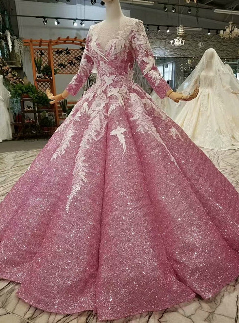 Pink Ball Gown Sequins Long Sleeve Floor Length Appliques Wedding Dress