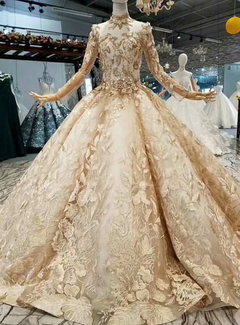 Champagne Ball Gown Tulle Long Sleeve Sequins Appliques Wedding Dress