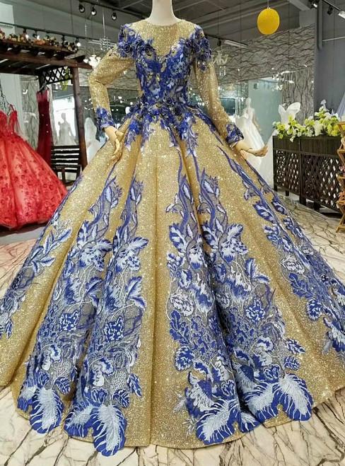 Gold Ball Gown Sequins Long Sleeve Blue Appliques Wedding Dress