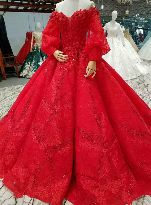 Red Ball Gown Off The Shoulder Lace Sequins Train Wedding Dress,Wedding Purple And Turquoise Bridesmaid Dresses