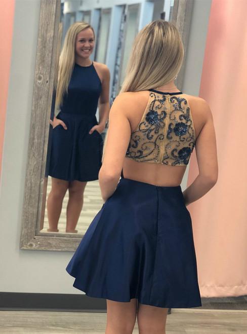 A-Line Navy Blue Satin Halter Beading Homecoming Dress With Pocket