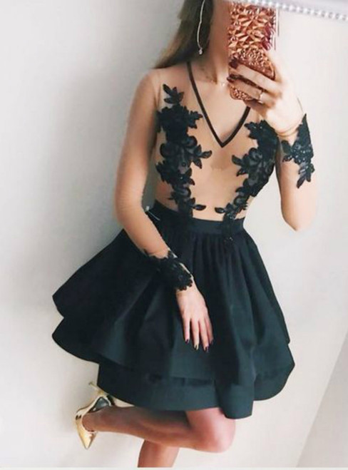 A-Line Black V-Neck Long Sleeves Homecoming Dress With Appliques