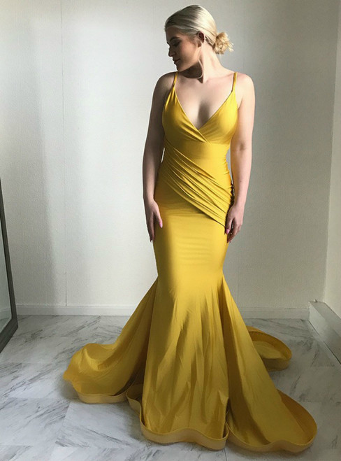 Yellow Mermaid Satin Spaghetti Straps Backless Prom Dress