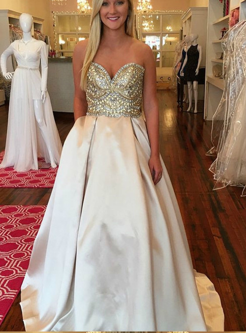 Champagne Satin Sweetheart Neck Beading Prom Dress With Pocket
