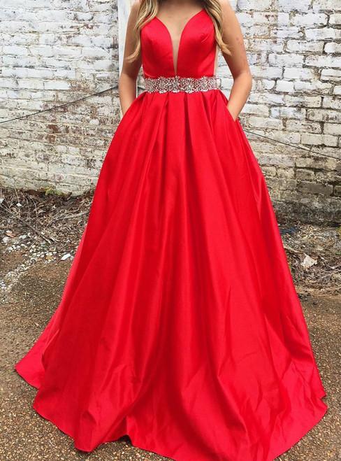 Red V-neck Satin Backless With Crystal Pocket Prom Dress
