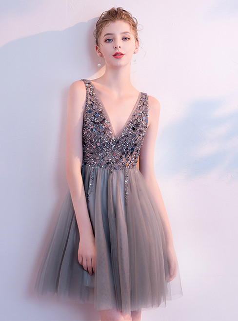 In Stock:Ship in 48 Hours Gray Tulle V-neck With Beading Homecoming Dress