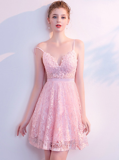 In Stock:Ship in 48 Hours Pink Lace Backless Mini Homecoming Dress