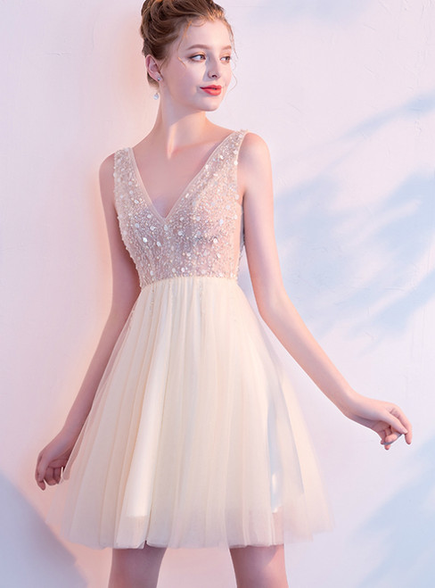 In Stock:Ship in 48 Hours Champagne Tulle V-neck Backless Homecoming Dress