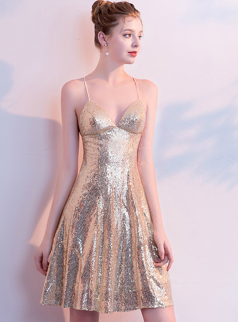 In Stock:Ship in 48 Hours Gold Sequins Backless Homecoming Dress