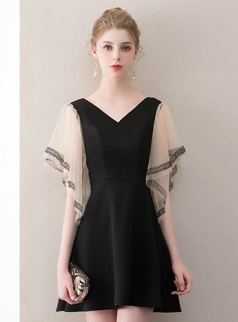 In Stock:Ship in 48 Hours Black V-neck Satin Mini Homecoming Dress