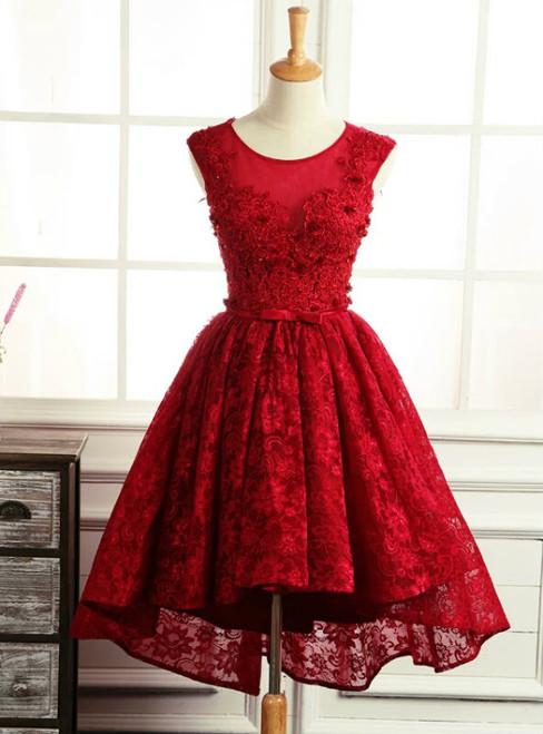Vintage Burgundy Short Homecoming Dresses Backless  Applique