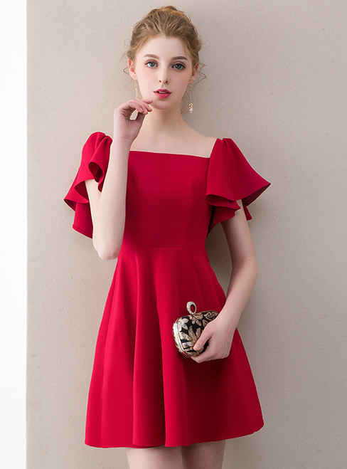In Stock:Ship in 48 Hours Red Satin Short Mini Homecoming Dress