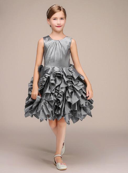 A-Line Gray Satin Ruffle Short Knee Length Flower Girl Dress
