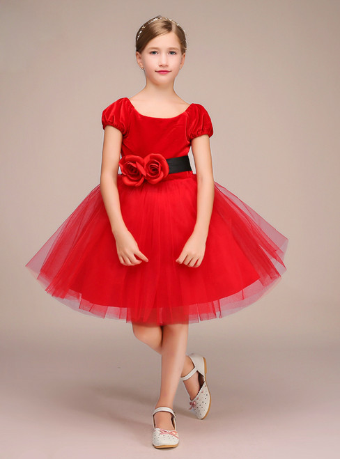 Red Velvet Tulle Cap Sleeve Short Knee Length Flower Girl Dress
