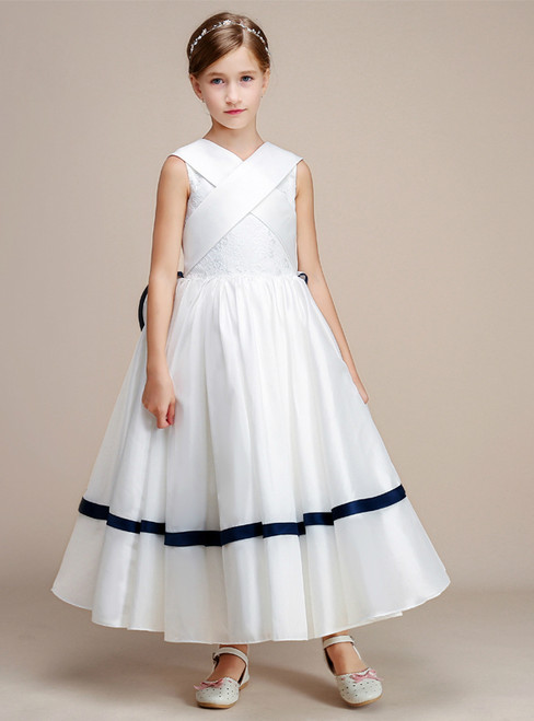 A-Line White Satin Lace Tea Length Flower Girl Dress