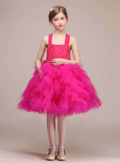 Fuchsia Tulle Lace Straps Knee Length Flower Girl Dress With Bow