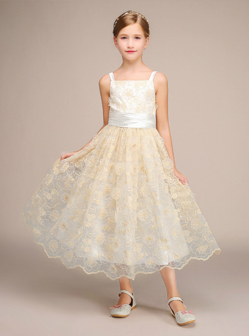Champagne Lace Straps Tea Length With Bow Flower Girl Dress