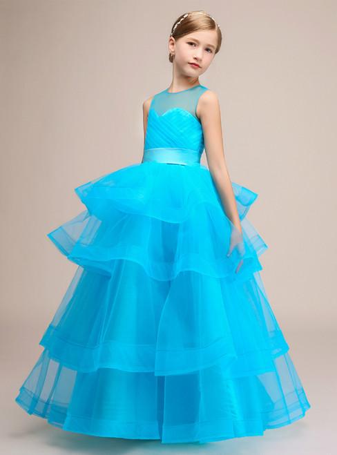 A-Line Blue Tulle Backless Sleeveless Floor Length Flower Girl Dress