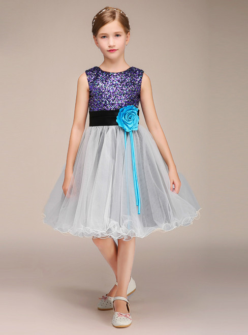 A-Line Colorful Sequins Gray Tulle Flower Girl Dress With Flower