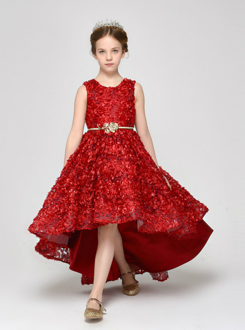 A-Line Red Hi Lo Lace Sleeveless With Sash Flower Girl Dress