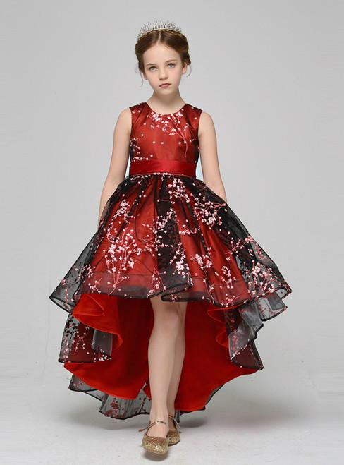 A Line Red Black Tulle Appliques Sleeveless Flower Girl Dress