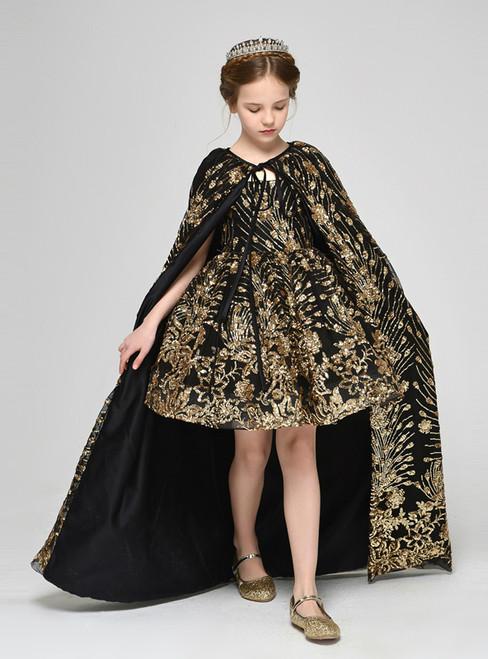 Black Two Piece Sequins Appliques Spaghetti Straps Short Flower Girl Dress