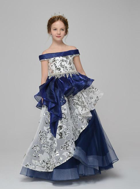 Blue Tulle Organza Sequins Off The Shoulder Floor Length Flower Girl Dress