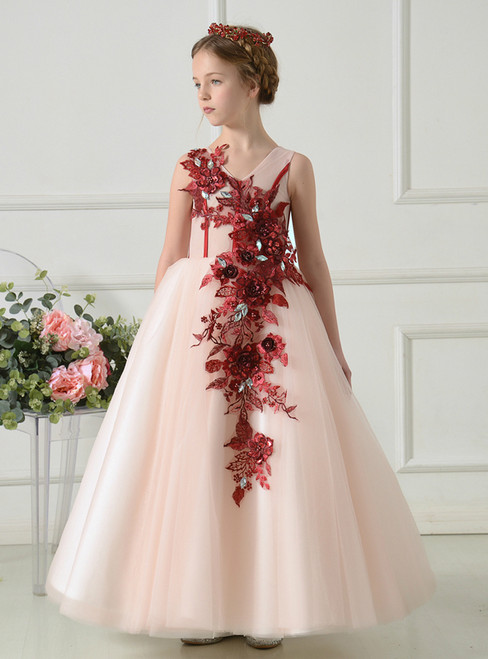 A-Line Pink Tulle Red Appliques Floor Length Flower Girl Dress