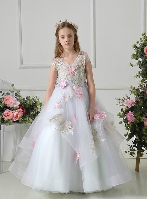 731fa842acc White Ball Gown Tulle V-neck Appliques Floor Length Flower Girl Dress